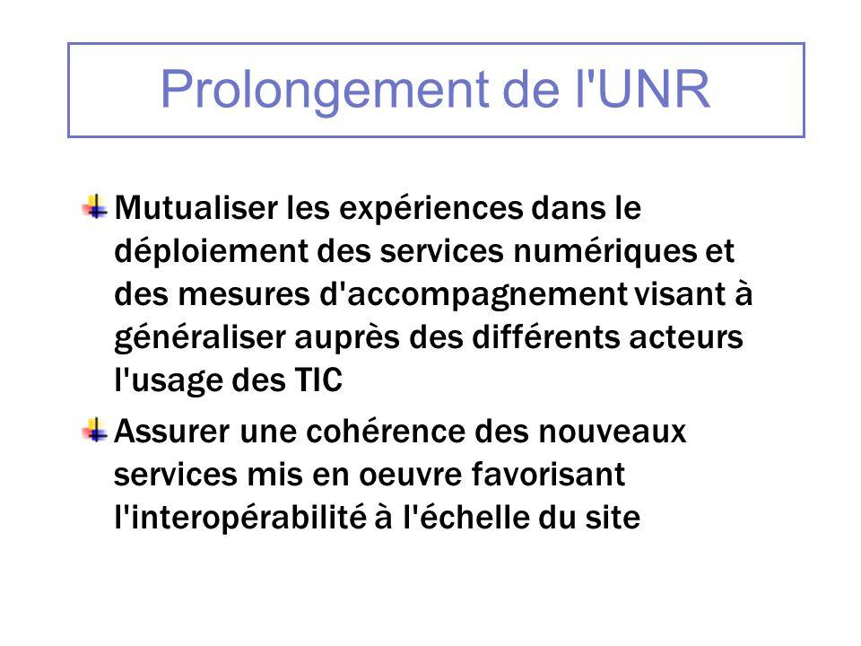 Prolongement de l'UNR Mutualiser les expériences dans le déploiement des services numériques et des mesures d'accompagnement visant à généraliser aupr