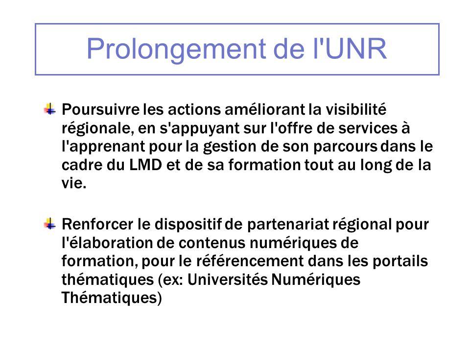 Prolongement de l'UNR Poursuivre les actions améliorant la visibilité régionale, en s'appuyant sur l'offre de services à l'apprenant pour la gestion d