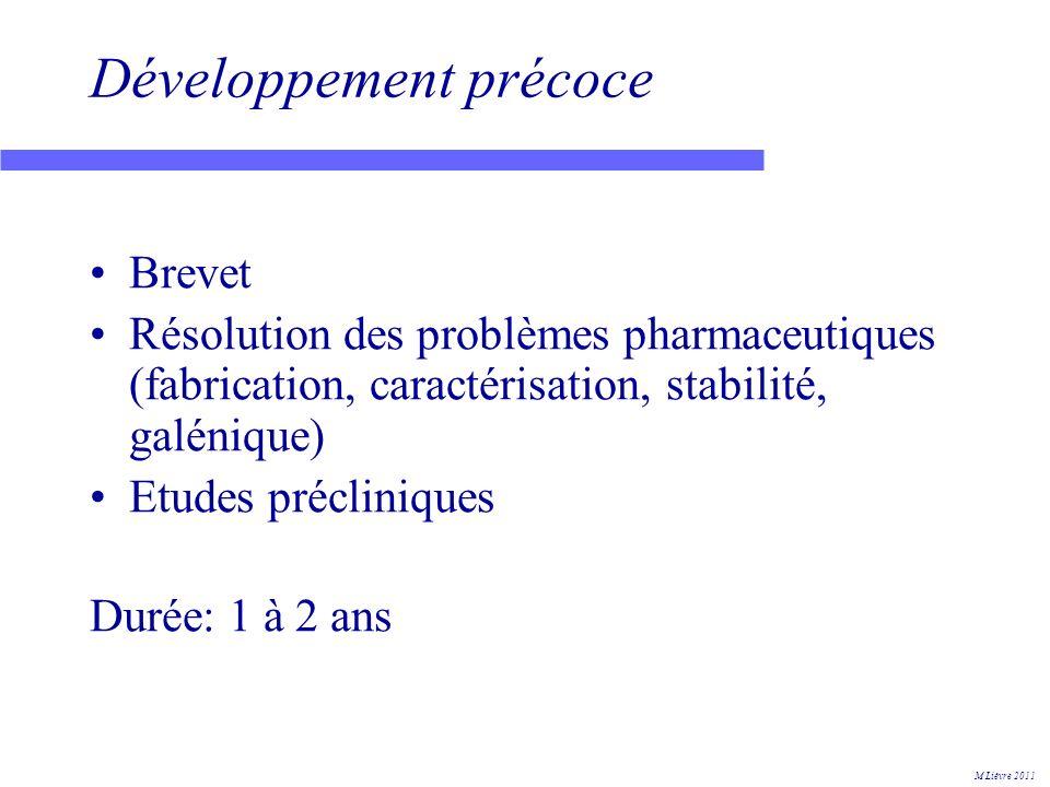 Preuve de concept Entre développement précoce et développement complet phase I = recherche de la dose maximum tolérée + pharmacocinétique (volontaires sains) phase II = identification dune relation dose effet (malades) Durée: 1 à 2 ans 90% déchecs M Lièvre 2011