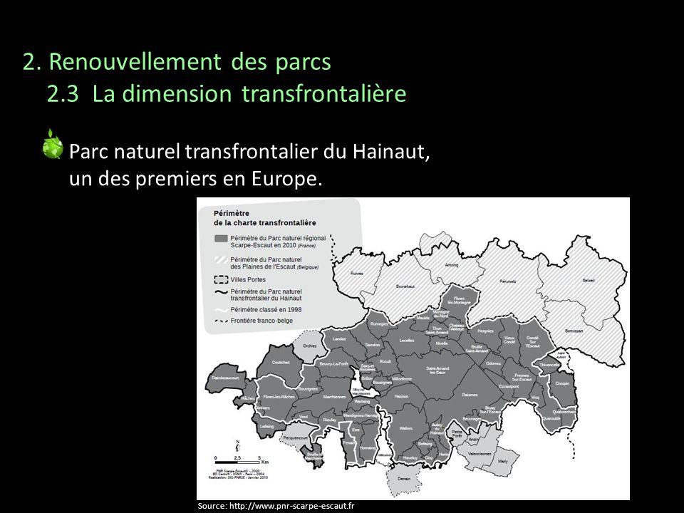 Parc naturel transfrontalier du Hainaut, un des premiers en Europe. Source: http://www.pnr-scarpe-escaut.fr 2. Renouvellement des parcs 2.3 La dimensi