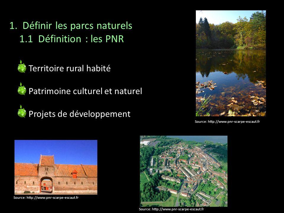 Territoire rural habité Patrimoine culturel et naturel Projets de développement 1. Définir les parcs naturels 1.1 Définition : les PNR Source: http://