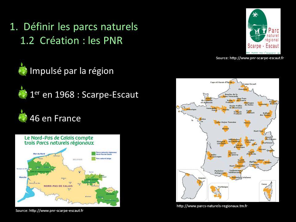 http://www.parcs-naturels-regionaux.tm.fr Source: http://www.pnr-scarpe-escaut.fr 1. Définir les parcs naturels 1.2 Création : les PNR Impulsé par la