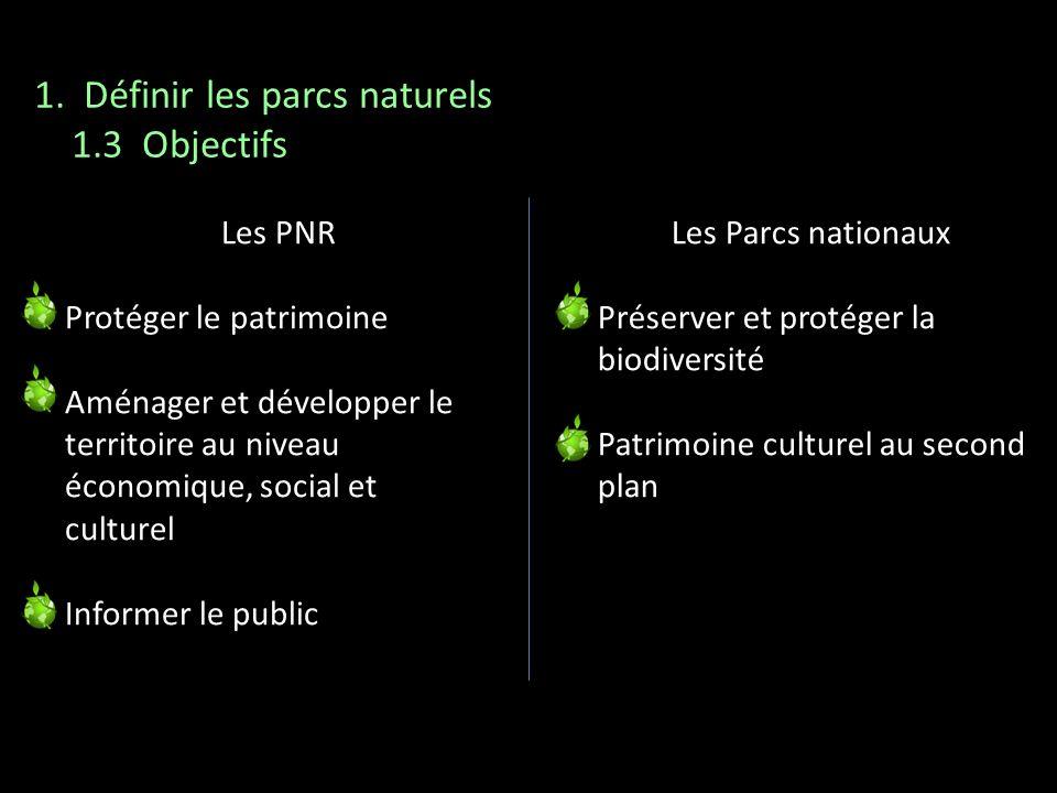 Les PNR Protéger le patrimoine Aménager et développer le territoire au niveau économique, social et culturel Informer le public Les Parcs nationaux Pr