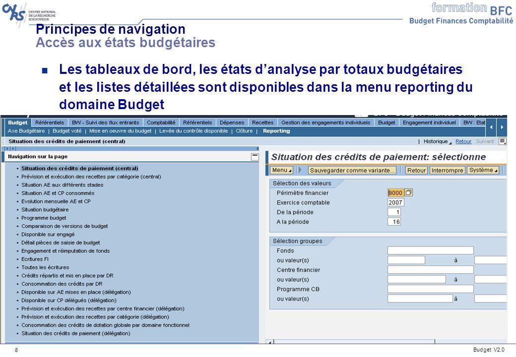 Budget V2.0 9 Principes de navigation Accès aux états budgétaires n Les queries pour les états des justificatifs des dépenses sont accessibles dans le menu Dépenses/Reporting Dépenses/Bordereaux journaliers dépenses/Liste détats query