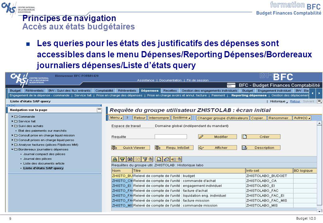 Budget V2.0 50 Détails des états disponibles : tableau de bord Prévision et exécution des recettes par centre financier (délégation) n Cet état permet de visualiser la prévision et lexécution des recettes par catégorie (et lignes) de recettes en délégation.