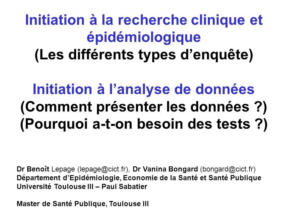 I)Les outils statistiques -Description de données -Sondages, échantillons, inférence -Estimations -Tests II)Les principaux types denquêtes -Essais cliniques -transversales -Cohortes -Cas témoins