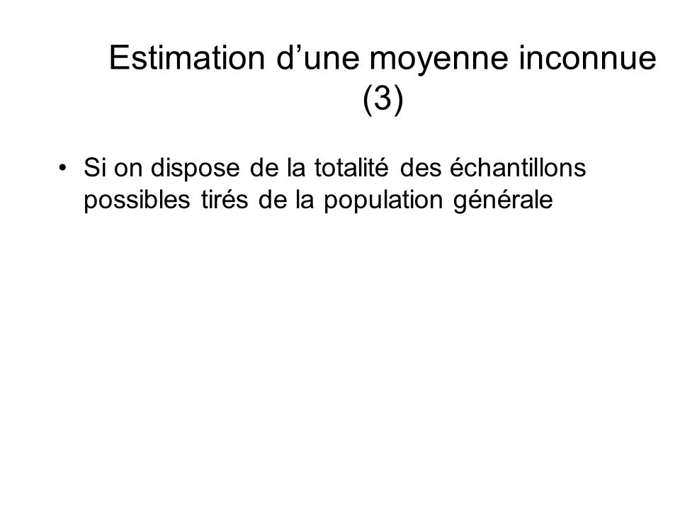 Estimation dune moyenne inconnue (3) Si on dispose de la totalité des échantillons possibles tirés de la population générale