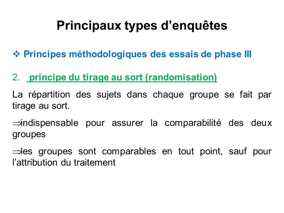 2. principe du tirage au sort (randomisation) La répartition des sujets dans chaque groupe se fait par tirage au sort. indispensable pour assurer la c