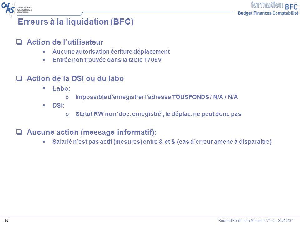 Support Formation Missions V1.3 – 22/10/07 101 Erreurs à la liquidation (BFC) Action de lutilisateur Aucune autorisation écriture déplacement Entrée n