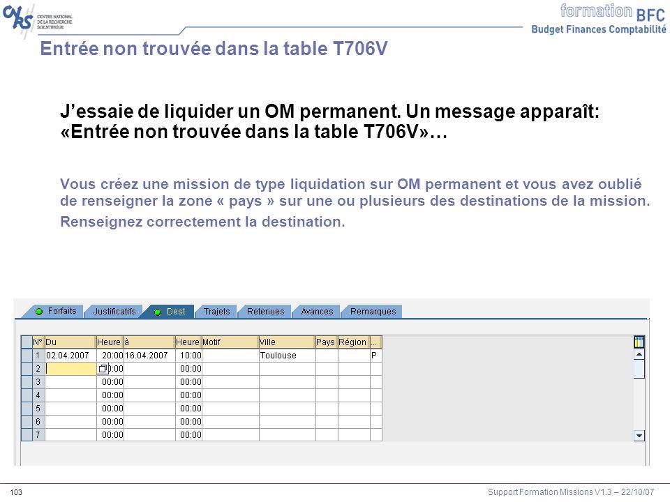 Support Formation Missions V1.3 – 22/10/07 103 Entrée non trouvée dans la table T706V Jessaie de liquider un OM permanent. Un message apparaît: «Entré