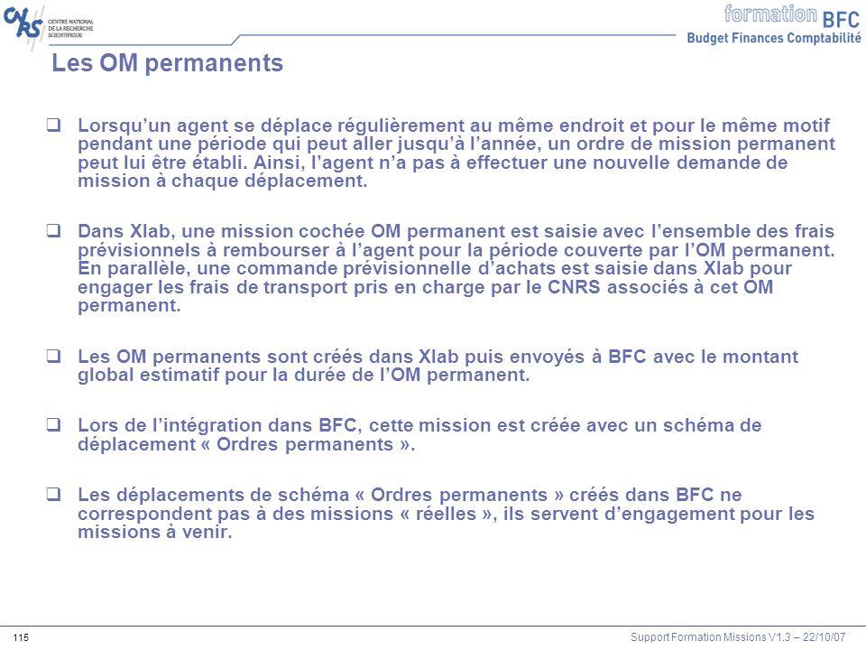 Support Formation Missions V1.3 – 22/10/07 115 Les OM permanents Lorsquun agent se déplace régulièrement au même endroit et pour le même motif pendant