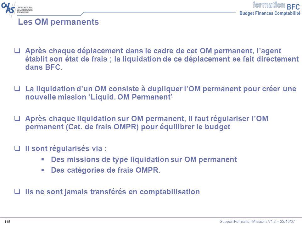Support Formation Missions V1.3 – 22/10/07 116 Les OM permanents Après chaque déplacement dans le cadre de cet OM permanent, lagent établit son état d