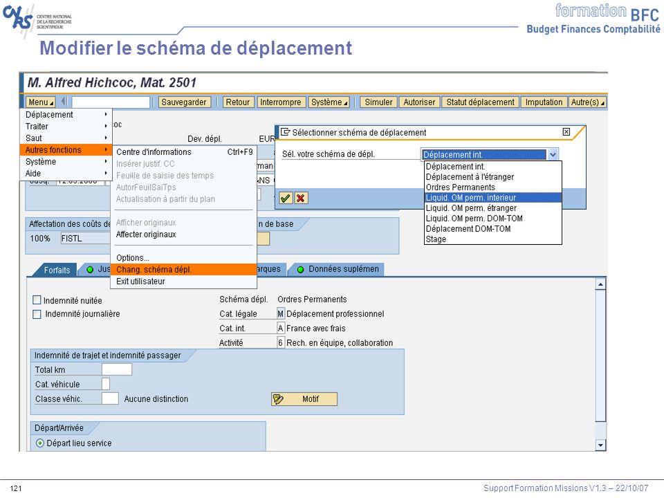 Support Formation Missions V1.3 – 22/10/07 121 Modifier le schéma de déplacement