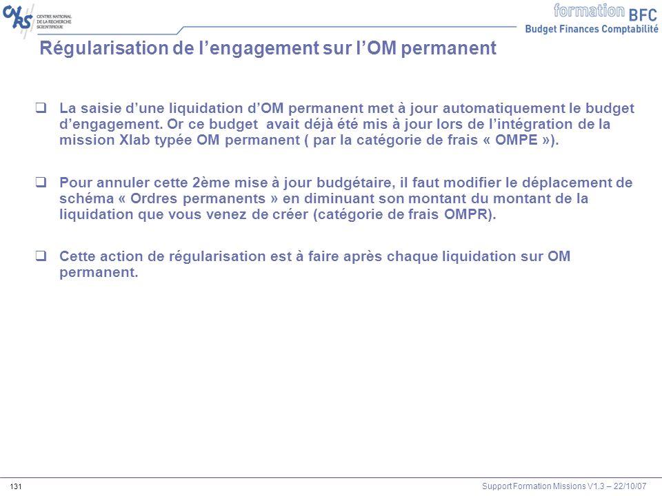 Support Formation Missions V1.3 – 22/10/07 131 Régularisation de lengagement sur lOM permanent La saisie dune liquidation dOM permanent met à jour aut