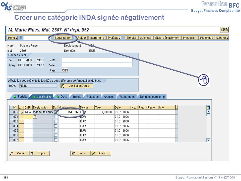Support Formation Missions V1.3 – 22/10/07 151 Créer une catégorie INDA signée négativement
