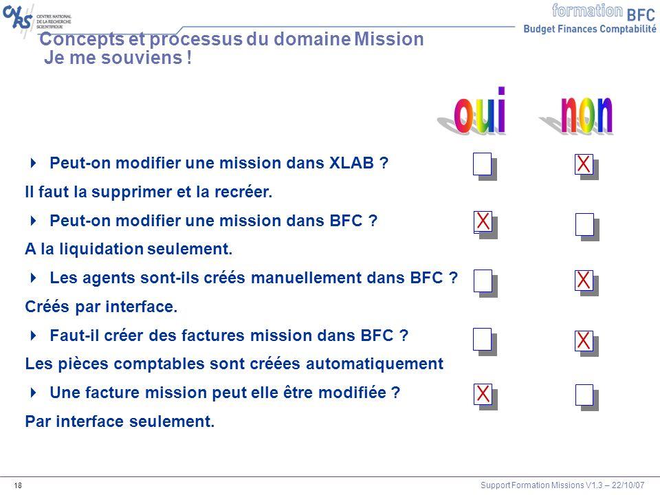 Support Formation Missions V1.3 – 22/10/07 18 Concepts et processus du domaine Mission Je me souviens ! Peut-on modifier une mission dans XLAB ? Il fa