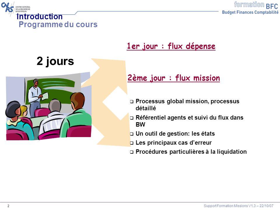 Support Formation Missions V1.3 – 22/10/07 2 Processus global mission, processus détaillé Référentiel agents et suivi du flux dans BW Un outil de gest