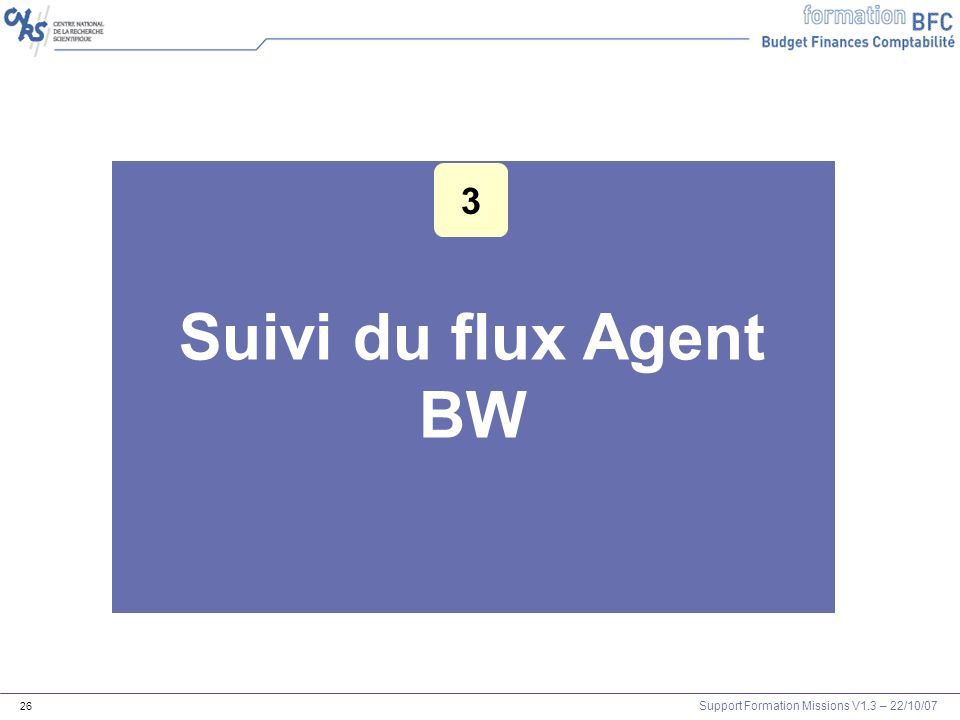 Support Formation Missions V1.3 – 22/10/07 26 Suivi du flux Agent BW 3