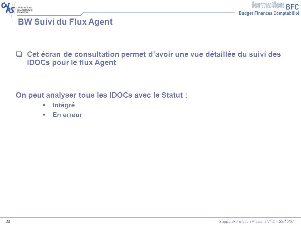 Support Formation Missions V1.3 – 22/10/07 28 BW Suivi du Flux Agent Cet écran de consultation permet davoir une vue détaillée du suivi des IDOCs pour