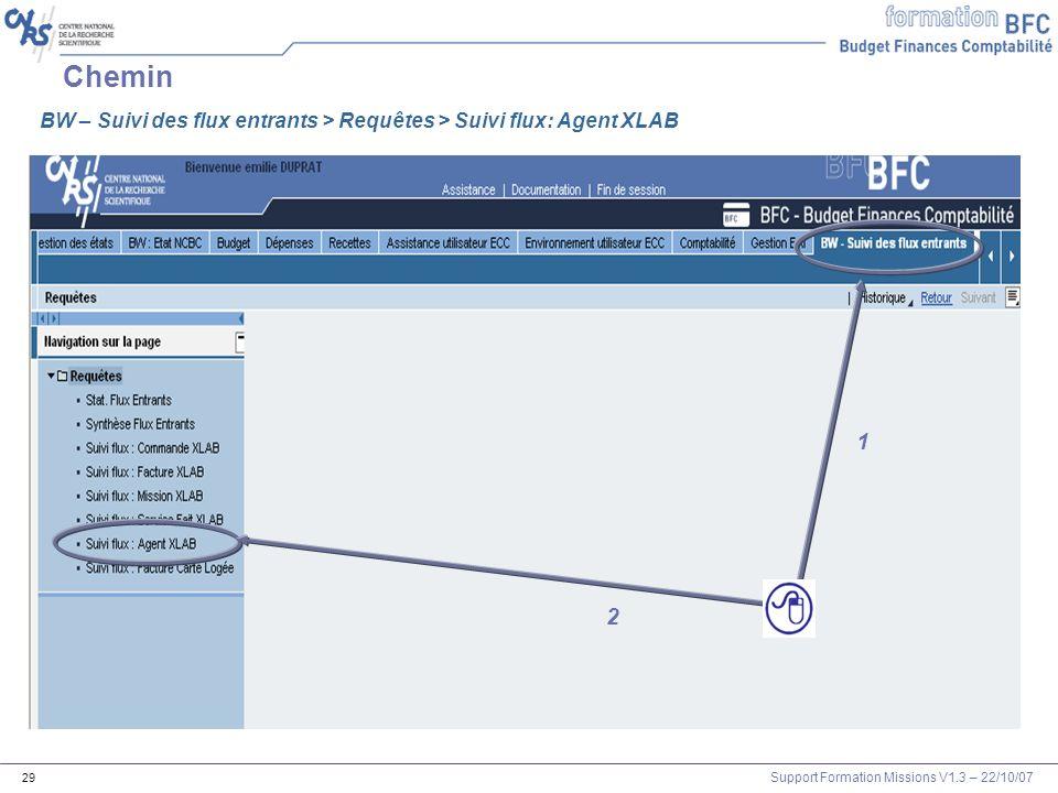 Support Formation Missions V1.3 – 22/10/07 29 Chemin 1 2 BW – Suivi des flux entrants > Requêtes > Suivi flux: Agent XLAB