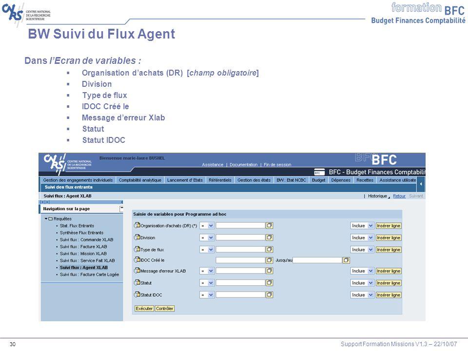 Support Formation Missions V1.3 – 22/10/07 30 BW Suivi du Flux Agent Dans lEcran de variables : Organisation dachats (DR) [champ obligatoire] Division