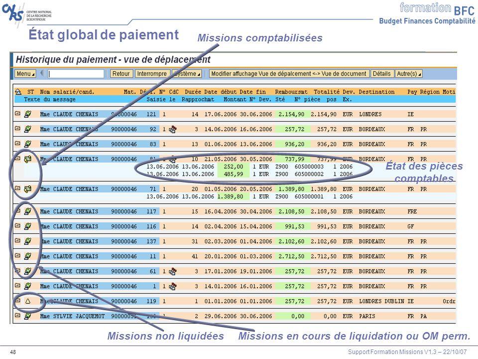 Support Formation Missions V1.3 – 22/10/07 48 État global de paiement Missions comptabilisées Missions non liquidéesMissions en cours de liquidation o
