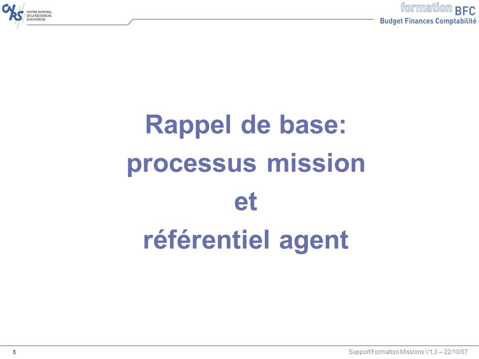 Support Formation Missions V1.3 – 22/10/07 16 Règles de gestion Mission 1- Une mission est toujours liée à un matricule 2- Un agent est toujours transformé en fournisseur pour quil puisse être remboursé 3- Une mission est (presque) toujours créée dans XLAB.
