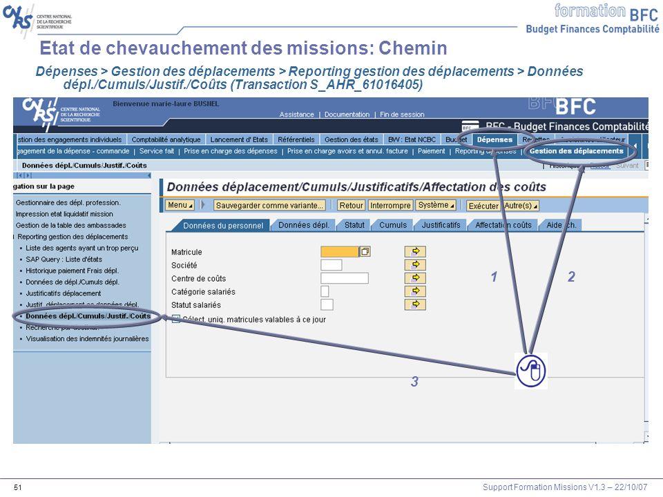 Support Formation Missions V1.3 – 22/10/07 51 Etat de chevauchement des missions: Chemin 1 2 3 1 Dépenses > Gestion des déplacements > Reporting gesti
