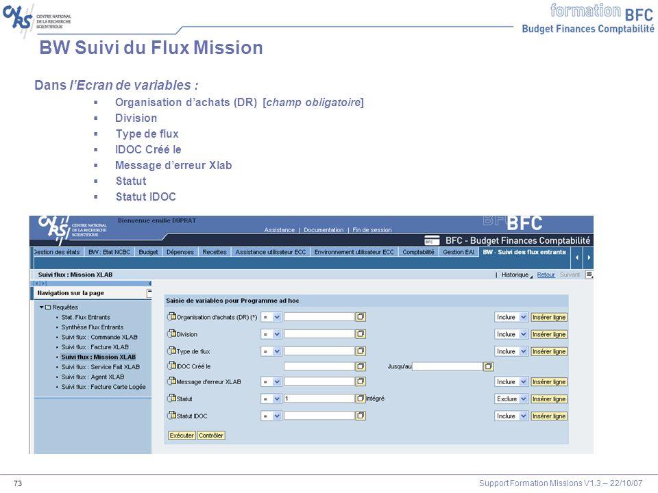 Support Formation Missions V1.3 – 22/10/07 73 BW Suivi du Flux Mission Dans lEcran de variables : Organisation dachats (DR) [champ obligatoire] Divisi