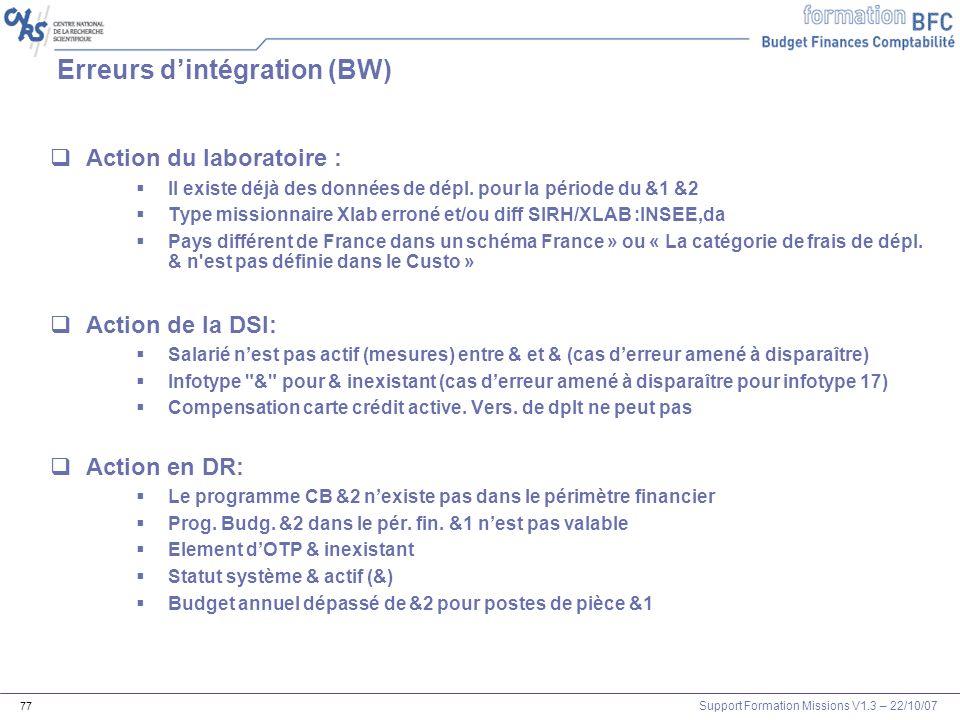 Support Formation Missions V1.3 – 22/10/07 77 Erreurs dintégration (BW) Action du laboratoire : Il existe déjà des données de dépl. pour la période du