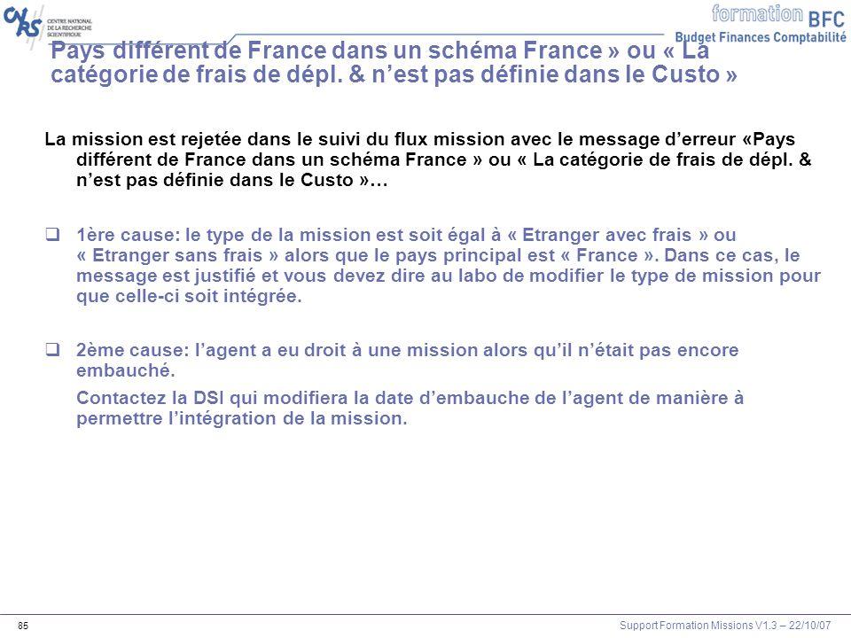 Support Formation Missions V1.3 – 22/10/07 85 Pays différent de France dans un schéma France » ou « La catégorie de frais de dépl. & nest pas définie