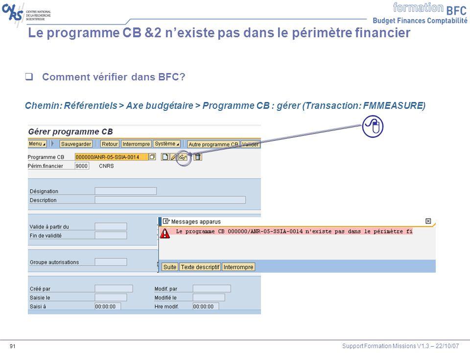 Support Formation Missions V1.3 – 22/10/07 91 Le programme CB &2 nexiste pas dans le périmètre financier Comment vérifier dans BFC? Chemin: Référentie
