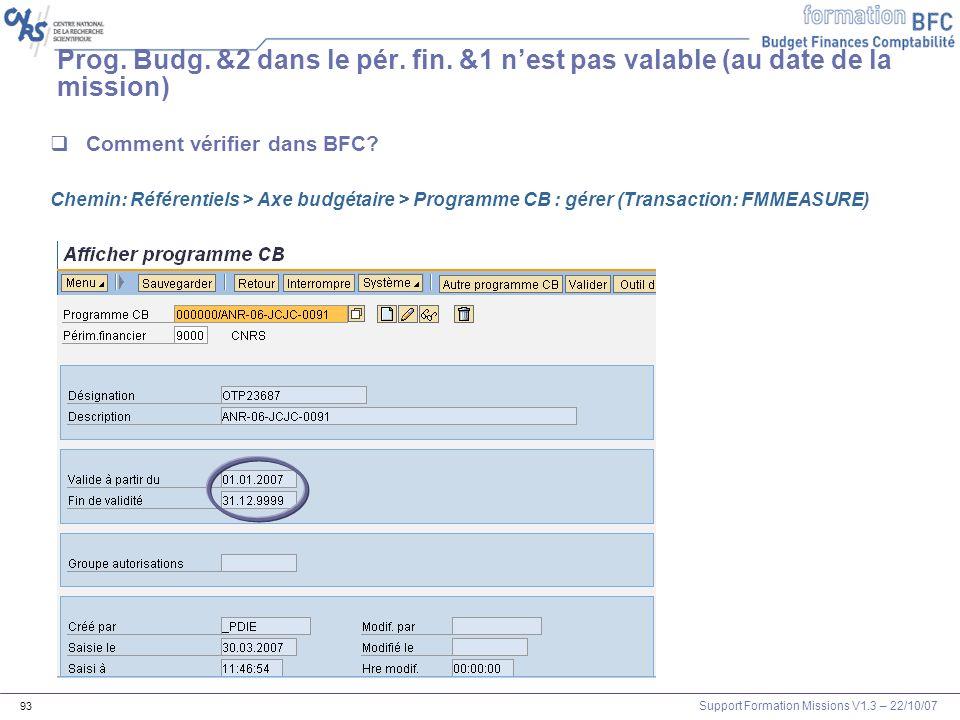 Support Formation Missions V1.3 – 22/10/07 93 Comment vérifier dans BFC? Chemin: Référentiels > Axe budgétaire > Programme CB : gérer (Transaction: FM