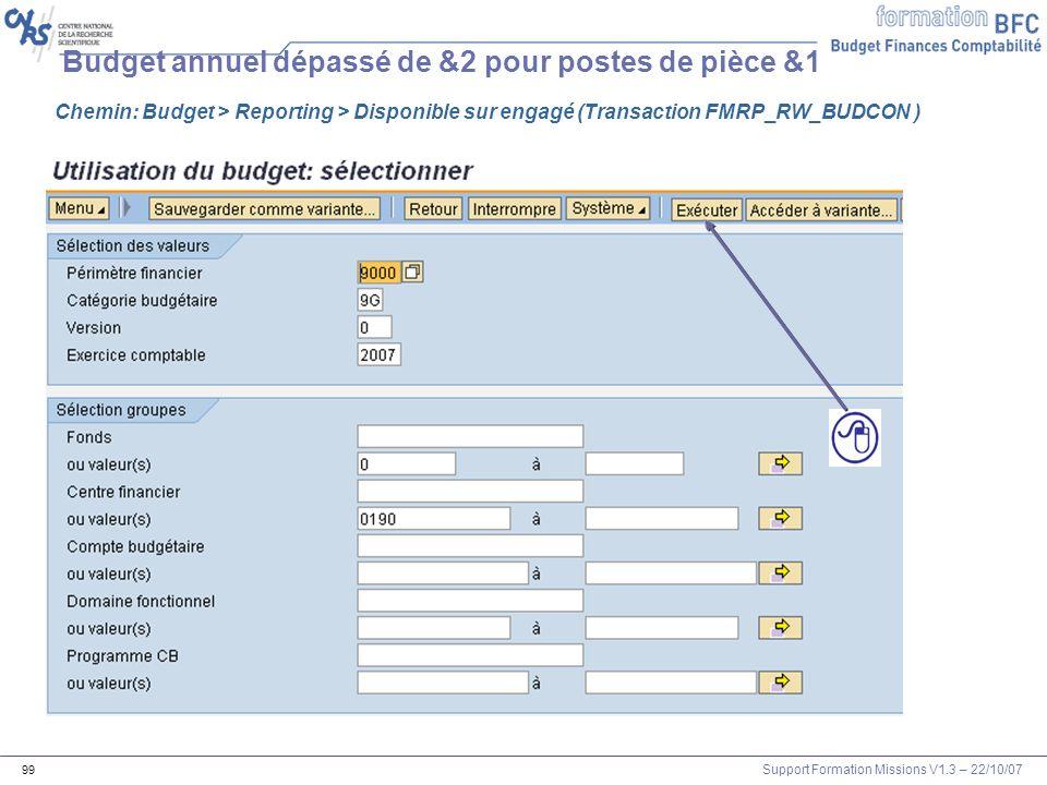 Support Formation Missions V1.3 – 22/10/07 99 Budget annuel dépassé de &2 pour postes de pièce &1 Chemin: Budget > Reporting > Disponible sur engagé (