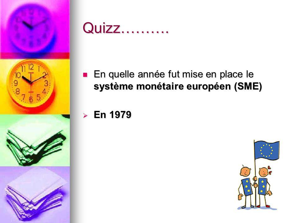 Quizz………. En quelle année fut mise en place le système monétaire européen (SME) En quelle année fut mise en place le système monétaire européen (SME)