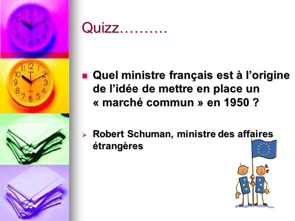 Quizz………. Quel ministre français est à lorigine de lidée de mettre en place un « marché commun » en 1950 ? Quel ministre français est à lorigine de li