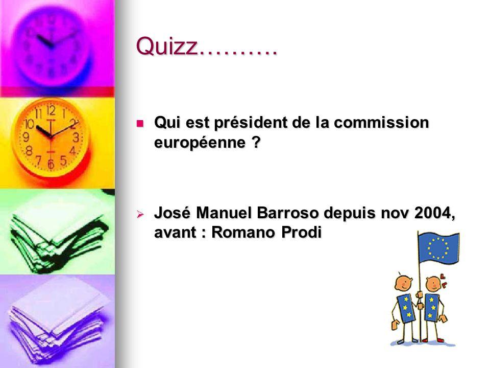 Quizz………. Qui est président de la commission européenne ? Qui est président de la commission européenne ? José Manuel Barroso depuis nov 2004, avant :