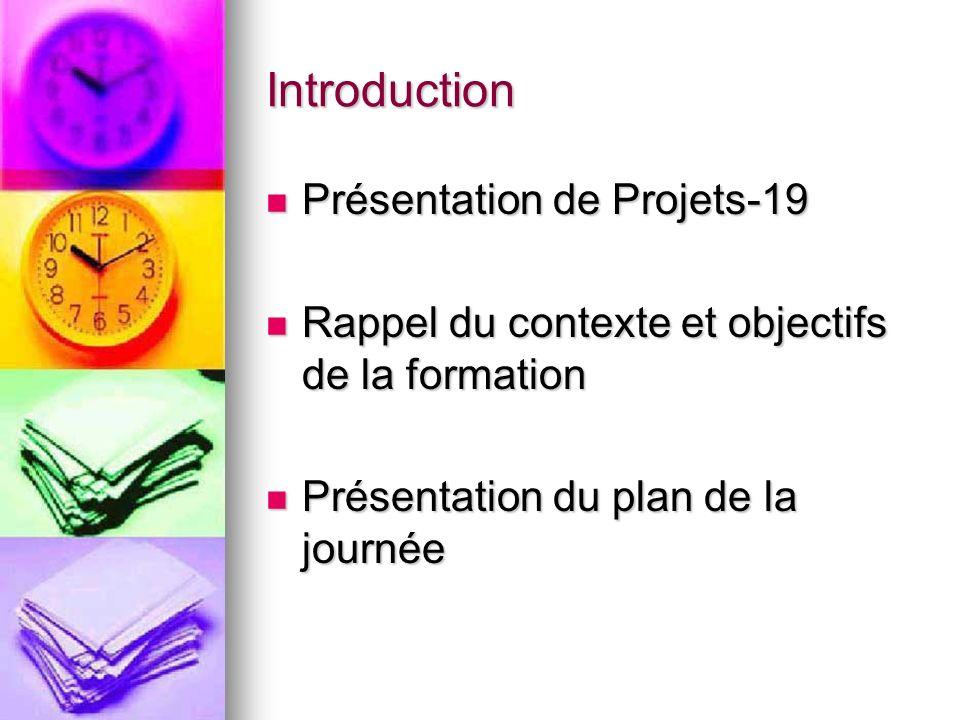 Introduction Présentation de Projets-19 Présentation de Projets-19 Rappel du contexte et objectifs de la formation Rappel du contexte et objectifs de