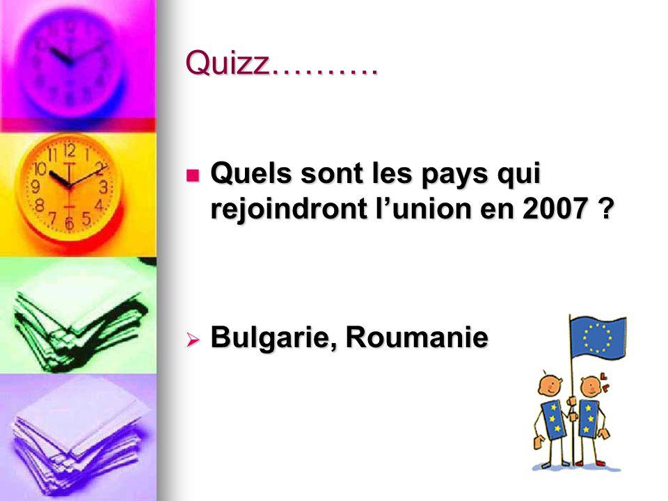 Quizz………. Quels sont les pays qui rejoindront lunion en 2007 ? Quels sont les pays qui rejoindront lunion en 2007 ? Bulgarie, Roumanie Bulgarie, Rouma