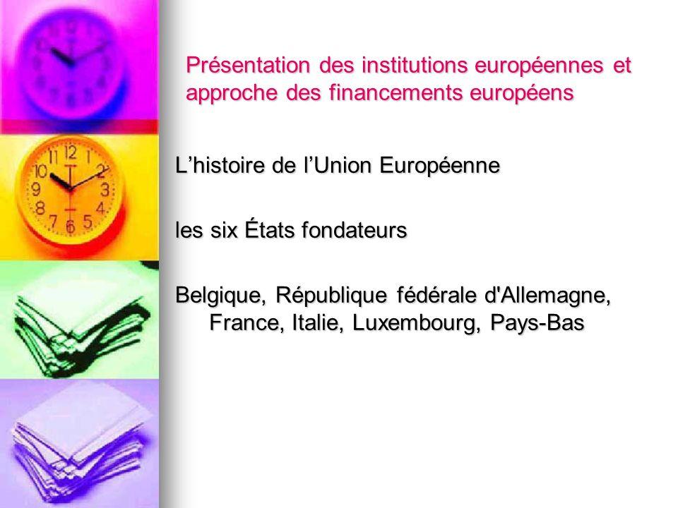 Présentation des institutions européennes et approche des financements européens Lhistoire de lUnion Européenne les six États fondateurs Belgique, Rép