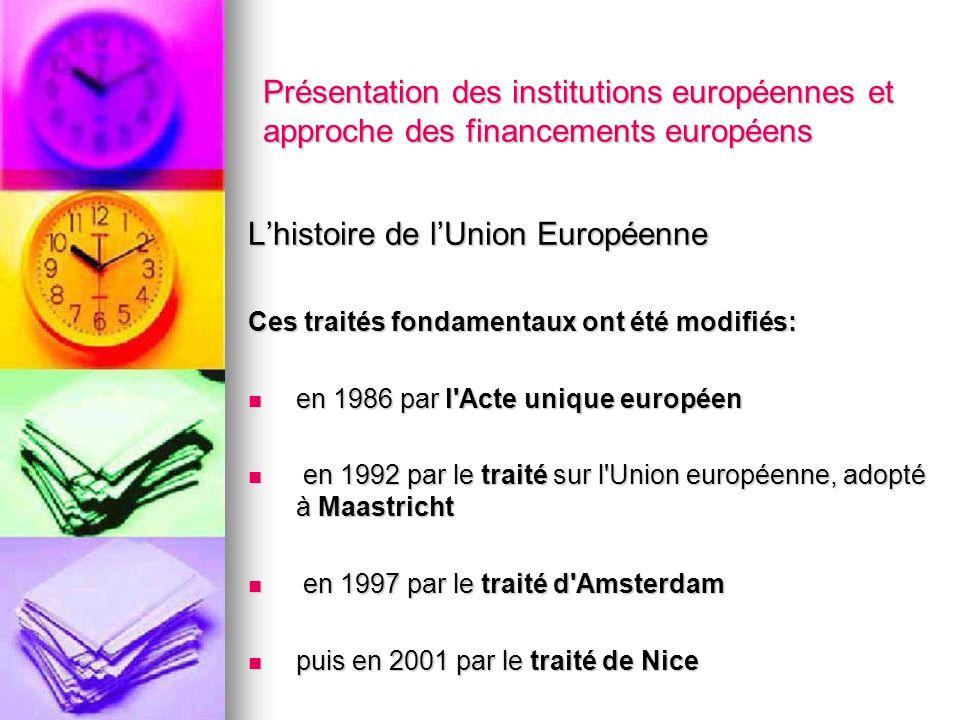 Présentation des institutions européennes et approche des financements européens Lhistoire de lUnion Européenne Ces traités fondamentaux ont été modif