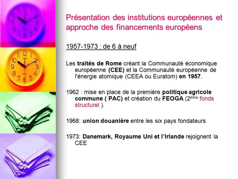 Présentation des institutions européennes et approche des financements européens 1957-1973 : de 6 à neuf Les traités de Rome créant la Communauté écon