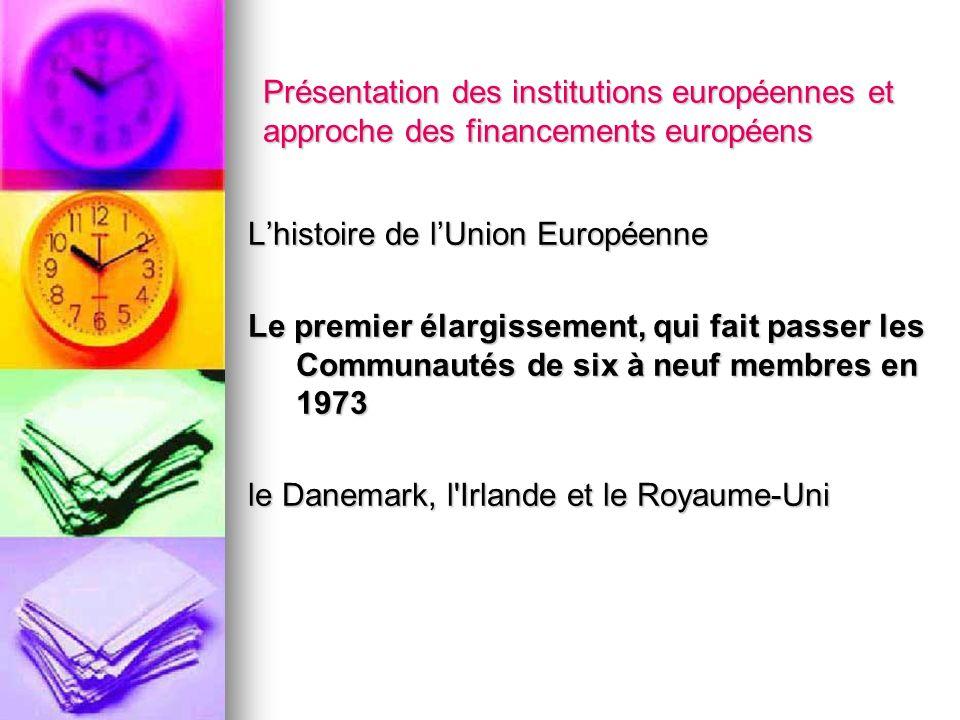 Présentation des institutions européennes et approche des financements européens Lhistoire de lUnion Européenne Le premier élargissement, qui fait pas