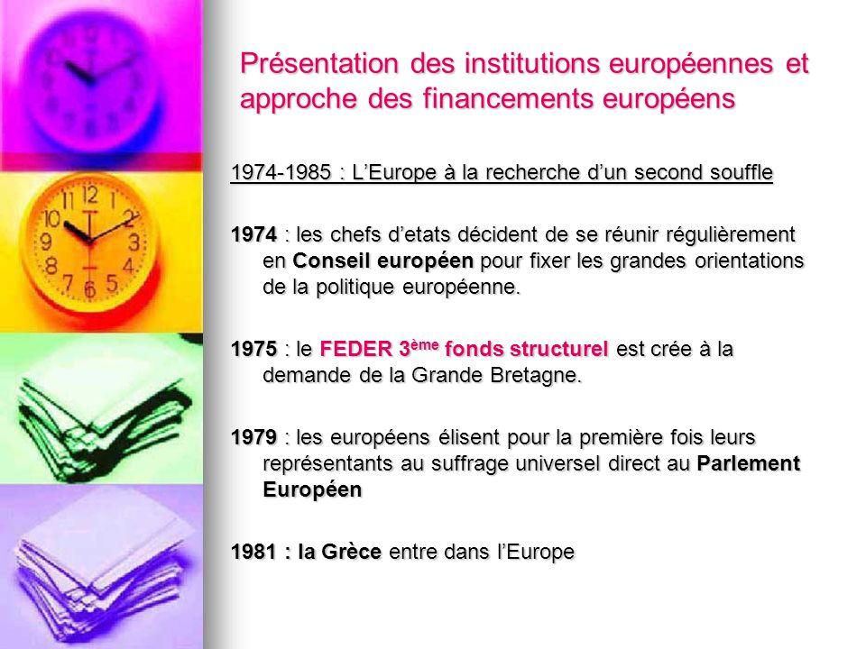 Présentation des institutions européennes et approche des financements européens 1974-1985 : LEurope à la recherche dun second souffle 1974 : les chef