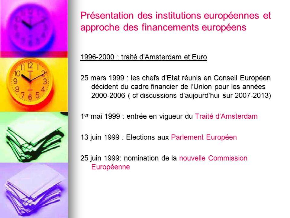 Présentation des institutions européennes et approche des financements européens 1996-2000 : traité dAmsterdam et Euro 25 mars 1999 : les chefs dEtat
