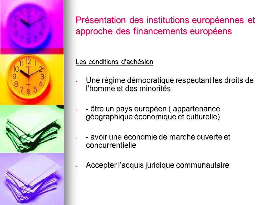 Présentation des institutions européennes et approche des financements européens Les conditions dadhésion - Une régime démocratique respectant les dro