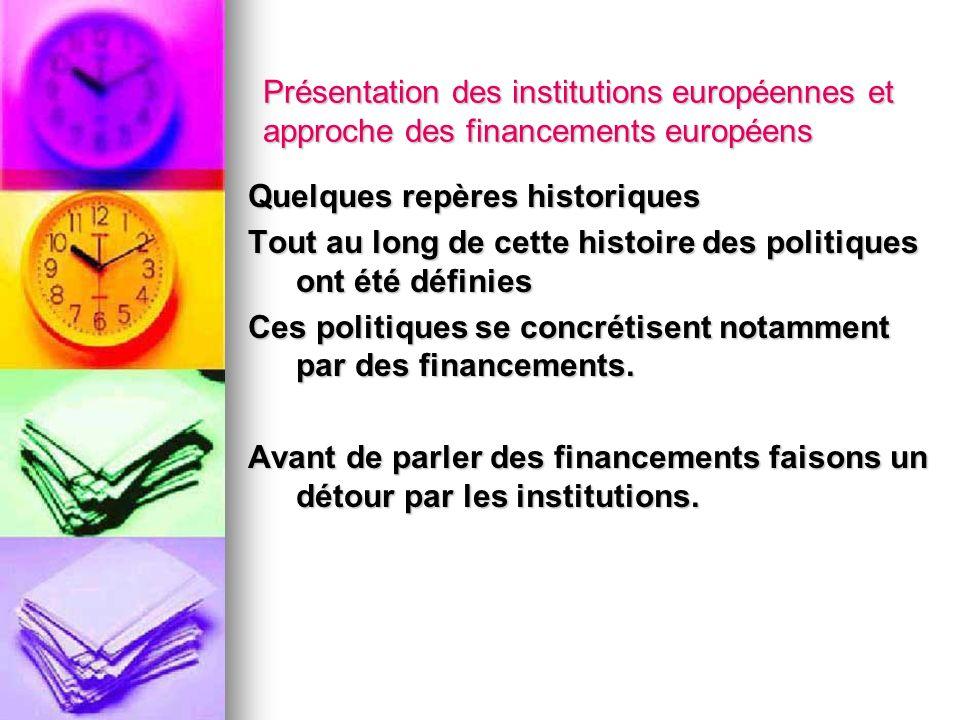 Présentation des institutions européennes et approche des financements européens Quelques repères historiques Tout au long de cette histoire des polit