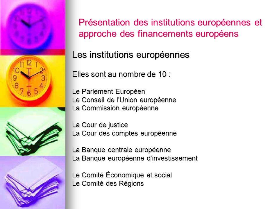 Présentation des institutions européennes et approche des financements européens Les institutions européennes Elles sont au nombre de 10 : Le Parlemen