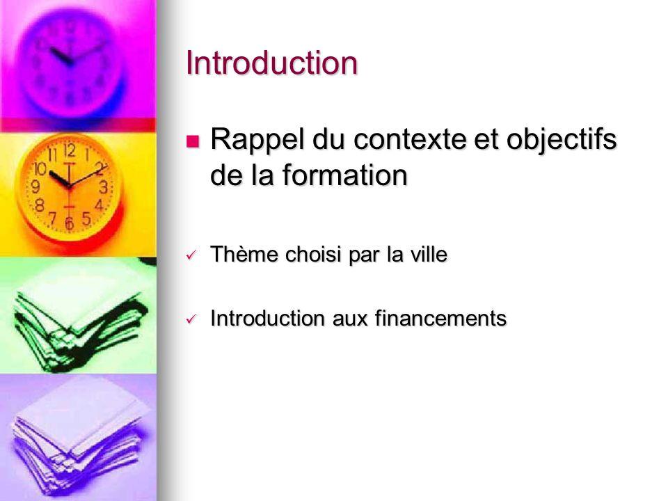 Introduction Rappel du contexte et objectifs de la formation Rappel du contexte et objectifs de la formation Thème choisi par la ville Thème choisi pa