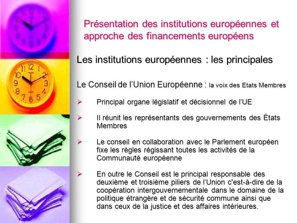 Présentation des institutions européennes et approche des financements européens Les institutions européennes : les principales Le Conseil de lUnion E